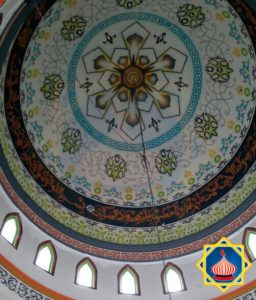 Plafon Kubah Masjid Airbrush Grafik Kaligrafi